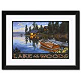 NorthwestアートMallウッズ湖カナダCriscraftボートドックFramedアートプリントby Darrell Bush。 12x18 / 18x24 inch DB-2532 NFMF-EB