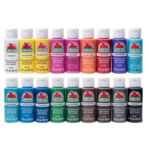 Apple Barrel Matte Finish Acrylic Paint Set, Assorted Colors 1, 18 Count
