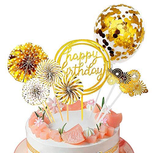 Happy Birthday Topper, Topper per Torte Compleanno, Oro topper, Decorazione Torta di Compleanno, Cake Topper Set, Oro Cake Topper Happy Birthday Coriandoli PalloncinoCake Topper per Ragazza Ragazzo