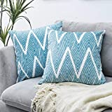 GKLUCKIN Pack of 2 Velvet Pillow Covers 18'x18' Teal/White Decorative Square Throw Pillow Covers Set Soft Striped Cushion Case for Sofa Bed Chair Car Home Decor