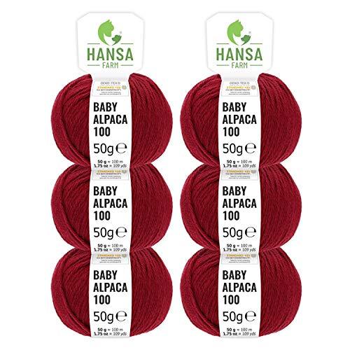 100% lana de alpaca en más de 50 colores (no pica) - Set de 300g (6x 50g) - Suave hilo baby de alpaca para punto y ganchillo en 6 grosores - rojo vino