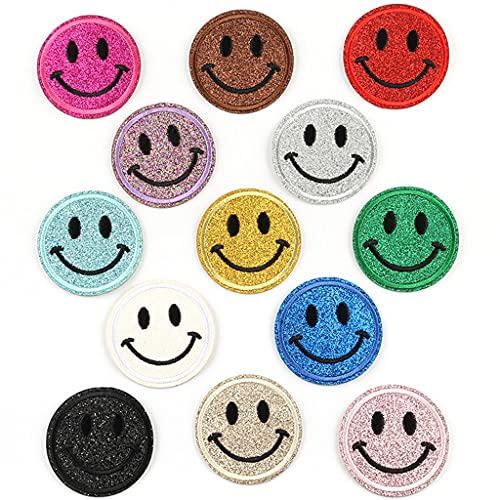 Ouceanwin Aufnäher Kinder Bügelflicken Set, 13pcs Flicken zum Aufbügeln Smileys Aufbügelflicken Jeans Kleidung Patches Zum Aufbügeln Rund Patch Sticker für Crafts DIY Dekoration