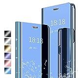 ANWEN Hülle für Samsung Galaxy A52 5G Handyhüllen,Flip Handy Hülle Cover PU+PC Schutzhülle Transluzent View Spiegel Anti-Schock Hülle mit Standfunktion für Samsung Galaxy A52 5G-Blau