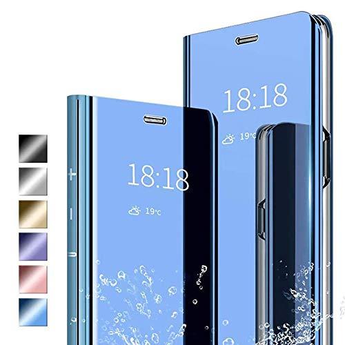 ANWEN Hülle für Samsung Galaxy S20 Fan Edition Handyhüllen,Flip Handy Hülle Cover PU+PC Schutzhülle Transluzent View Spiegel Anti-Schock Hülle mit Standfunktion für Samsung Galaxy S20 Fan Edition-Blau