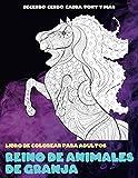 Reino de animales de granja - Libro de colorear para adultos - Becerro, Cerdo, Cabra, Pony y más