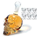 Decantador de cristal de calavera para vino, diseño transparente, botella de cristal de whisky, copas de vino 500ml+75ml