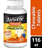 Vitamin C 1000mg - Airborne Citrus Chewable Tablets (116 count in a bottle), Gluten-Free Immune Support Supplement and High in Antioxidants, Packaging May Vary, 116 Count