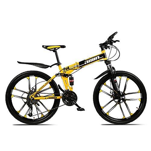 Bicicleta de montaña de 26 Pulgadas, 21/24/27 / 30-Velocidad variable/10 Radios/Absorción de Impactos /Frenos de Doble disco, Mtb para Adultos que Viajan Fuera de Viajes deportivos,Yellow,24-Speed