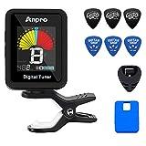 Anpro Afinador de Guitarra, Guitar Tuner and Guitar Picks Kit Guitar Tool with LCD Display for Guitar, Bass, Violin, Ukulele