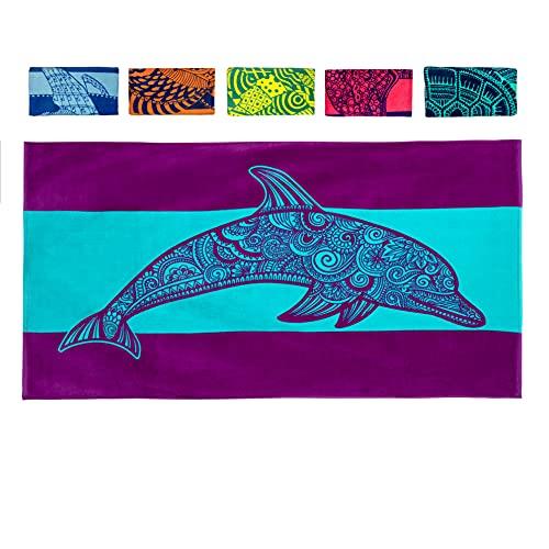 노바 블루 돌핀 비치 타월 - 100% 면으로 만든 독특한 디자인 엑스트라 라지 XL 풀 타월 (34X 63)을 갖춘 열대 블루 및 퍼플 컬러