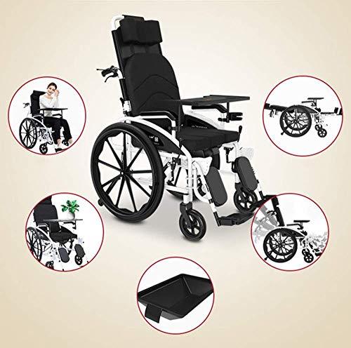 MJY sedia a rotelle pieghevole per trasporto 24 kg, sedia a rotelle con controllo delle gambe, schienale a metà disteso, capacità di carico 150 kg, 47 x 40 cm, sedile staccabile e Amp; sedia Dfgjgl