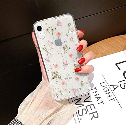 iPhone XR Real Flower Case, YTanazing Soft Clear Flexible Rubber Pressed Dried Flowers Case Girls Glitter Floral Protective Phone Cover for iPhone XR 6.1 inch - Pink Flowers