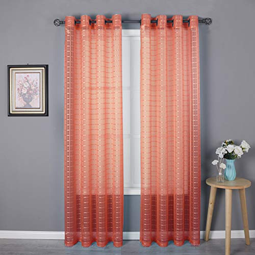 HEJEME Coral Sheer Curtain Window Curtains (54 x 84inch) with Grommets - Single Layer Semi Sheer Plaid Lines Panels for Bedroom, Living Room & Dining Room, Set of 2 Panels