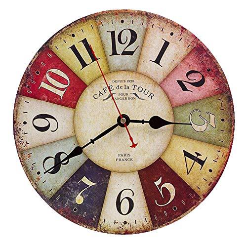 Asvert Horloge Murale Vintage Coloré en Bois Pendule Murale Silencieuse Cadran Rétro Design Rond Rustique Style Toscan Décoration pour Salon Chambre Bureau Maison Café Bar, 12in