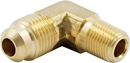 Brass Flared Tube Fitting90 Degree Elbow 3//8SAE Male x 1//8 NPT Male Pipe Thread 2pcs 3//8X1//8