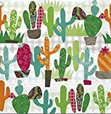 20Servilletas Multicolor Cactus/Plantas/natural/Mexico 33x 33cm