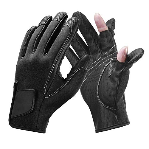 Hughdy Neopren Angelhandschuhe, Neopren Angelhandschuhe 2 Cut Finger Flexible Handschuhe Winddicht Rutschfest Outdoor Handschuhe Schwarz