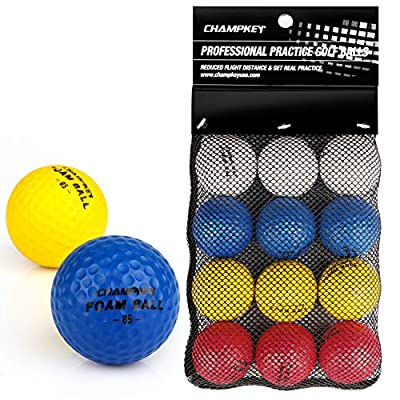 Champkey Compressed Foam Golf Balls(12 Pack or 24 Pack)   True Spin and Feel Practice Golf Balls   Weighted Foam Balls Ideal for Indoor or Outdoor (Mixed Color, 24 Pack)