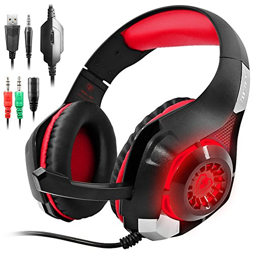 GM-1 Gaming Headset Compatible New PS4 PC Tablet Cellphone, Stereo LED Backlit Headphone with Mic by AFUNTA-Red