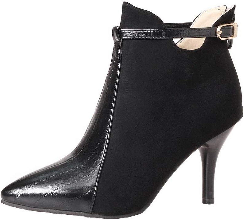 WeiPoot Women's Zipper High-Heels Blend Materials Solid Low-Top Boots, EGHXH117781