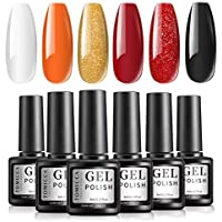 6-Colors TOMICCA Glitter Gel Nail Polish Set (Orange)