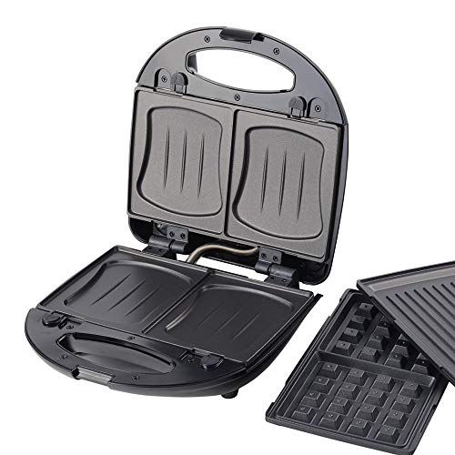 3 in 1 Sandwichmaker Waffeleisen Tischgrill,Klick-System, Thermostat, Backampel, elektrischer Sandwichtoaster, 700 Watt, Kontaktgrill, schwarz Edelstahl