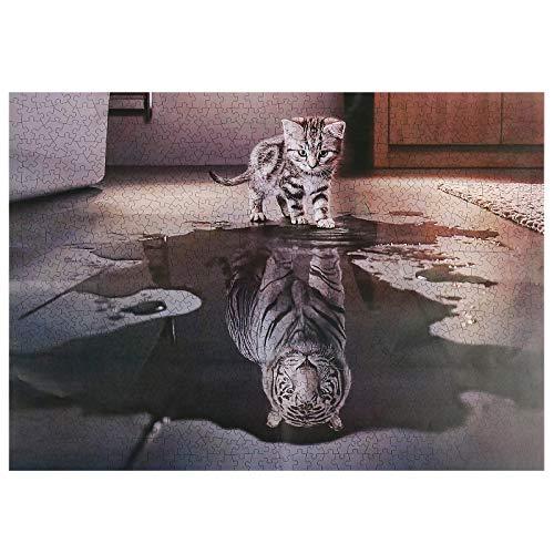 DLOPK Puzzle 1000 Pezzi, Puzzles Animali Gatto, Puzzle da Pavimento Jigsaw per Bambini Adulti Puzzle Classici (70x50cm) (Tigre Gatto)