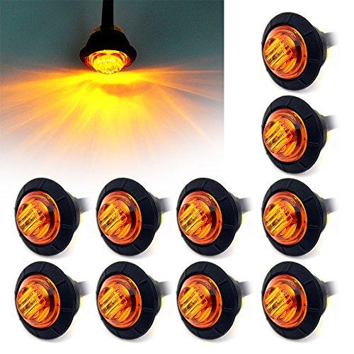Purishion 10x 3/4 Round LED Clearence Light Front Rear Side Marker Indicators Light for Truck Car Bus Trailer Van Caravan Boat, Taillight Brake Stop Lamp (12V, Amber)