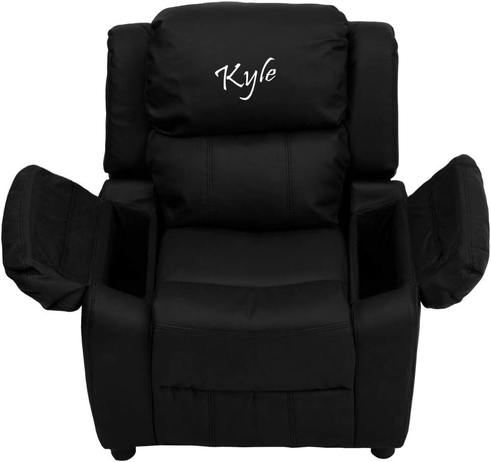 Flash Furniture Personalized Deluxe Padded Black LeatherSoft Kids Recliner with Storage Arms