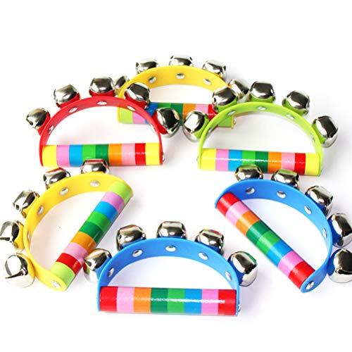 Enfudid 6 PCS Vivid Color Rainbow Handle Wooden Bells Jingle Stick Shaker Rattle Jingle Bells for Baby Kids Children Musical Toys