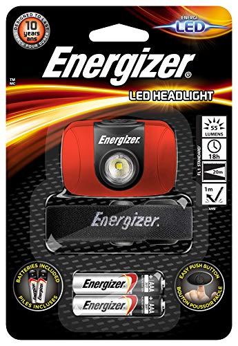 Energizer Linterna Frontal LED, 55 LM, 18 Horas, 20 Metros, Resistente a caidas, Pilas Incluidas, 0.75 W, Rojo, Standard