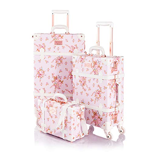 COTRUNKAGE Travel Vintage Carry On Suitcase Set for Women with Spinner Wheels, Pink Floral