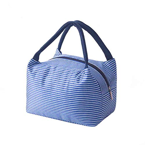 XXYsm lonchera aislada térmica bolsa de almacenamiento de alimentos portátil de viaje caja de almuerzo Bento contenedor para mujeres hombres niños niña niño Cooler adultos bolsa 26,5 x 23 x 15 cm azul