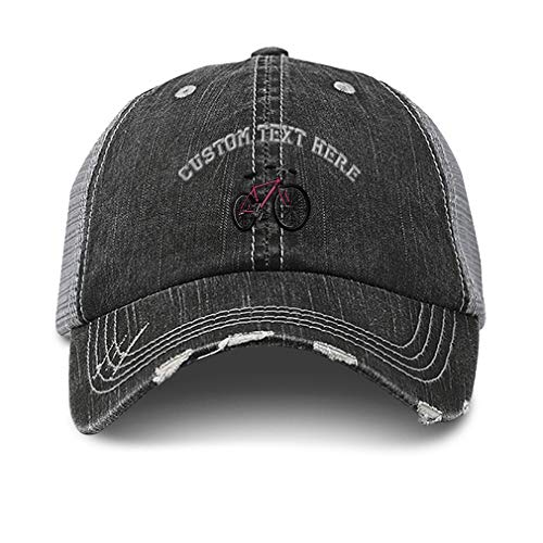 Custom Distressed Trucker Hat Mountain Pink Bike Embroidery Cotton for Men & Women Strap Closure Black Gray Personalized Text Here