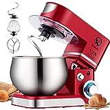 Küchenmaschine Knetmaschine 6L, 1000W Reduzierte Geräusche Knetmaschine mit Rührbesen, Knethaken, Schlagbesen, Spritzschutz, 6+P Geschwindigkeit mit Edelstahlschüssel Teigmaschin (Rot)