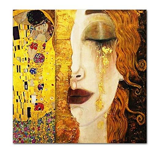 """Druck auf Leinwand SELBSTLOS Kunst Gustav Klimt Goldene Tränen und Kuss Leinwandbilder Wandkunst Gedruckte Bilder Berühmte Malerei Klassische Kunst Dekor 80 x 80 cm (31,4 \""""x 31,4\"""") Kein Rahmen"""