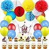 パーティー飾り付け カラフル サーカス 道化師デコレーション ケーキトッパー ペーパーフラワー ハニカムボール 赤い青い白い イベント 部屋装飾