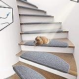 ybaymy 15 Stück Stufenmatten Treppenteppiche Treppen-Teppich Starke Befestigung Treppenmatten eingekettel mit Unsichtbarem Kiel Schutz der Treppenränder Magic Buckle Patch - Grau,ca. 65X24X3cm