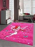 Alfombra infantil, juego alfombra alfombra infantil, con diseño de hadas mariposa, color rosa crema rojo turquesa, rosa, 140 x 200 cm