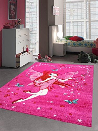 Kinderteppich Spielteppich Kinderzimmer Teppich Zauberfee mit Schmetterlinge Pink Creme Rot Türkis Größe 140x200 cm