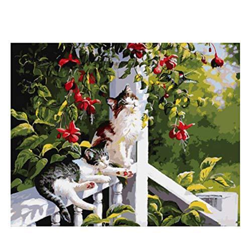 GKJRKGVF Leuke Kat Diy Schilderen Door Getallen Dier Olie Schilderen Op Doek Tuin Railing Bloem Acryl Muur Kunst