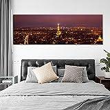YHZSML Skyline of Paris Arte de la Pared Impresiones de la Lona Paisaje Nocturno de París Carteles e Impresiones Arte de la Pared Imágenes Decorativas para la habitación de la Cama 1 60x180cm