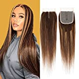 Ombre Human Hair 4X4 Machine Made Lace Front Closure For Black Women Middle Part 130 Density Straight Wave 4 By 4 Two Tone Human Hair Lace Closure Light Brown Mixed Blonde Sew In Hair Weave 22 Inch