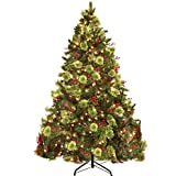 PRAISUN 6 ft Pre-Lit Artificial Christmas Tree with 450 LED Lights, 1105 Branch Tips Hinged Tree, Xmas Tree with Metal Stand, Pine Cones, Red Berries and Pine Needles, Holiday Decoration