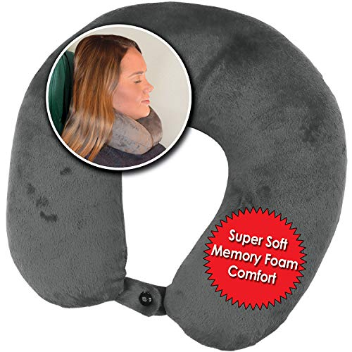 My Perfect Dreams Premium Travel Pillow (Grey), Sleep with NO Neck Pain, Super Soft Memory Foam Neck Pillow Easy Washing with Removable Cover