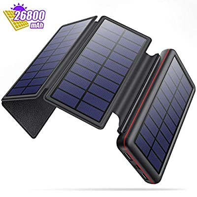 Solar Charger 26800mAh, Solar Power Bank Portable Charger External Backup Battery Pack with 4 Solar Panels,2 Outputs and 2 Inputs[Type C & USB Port ] Cellphone Charger for Smart-Phone,Tablet and More