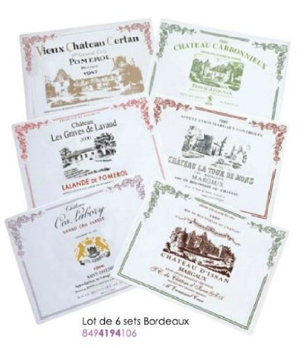 LOT DE 6 SETS DE TABLE PVC COLLECTION 6 VINS DE BORDEAUX GRANDS CRUS