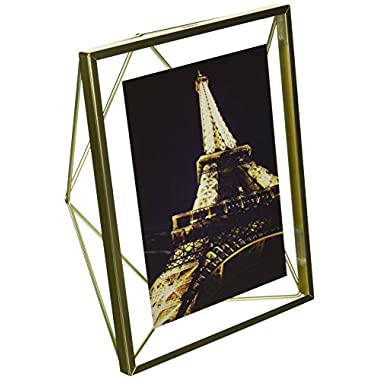 Umbra Prisma 5 x 7 Picture Frame – Floating Wall or Desk Photo Display for Pictures, Art, Illustrations, Graphic Text & More, Metal, Matte Brass
