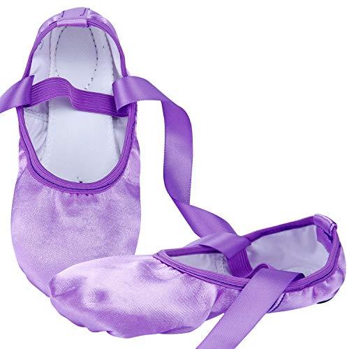 WENDYWU Girls Ballet Dance Shoes Purple Flat Slipper with Ribbon (Purple, 9C (Little Kids))