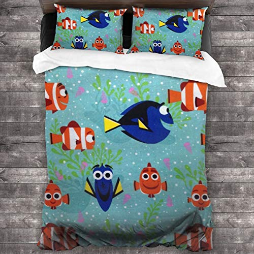 ZUL 3D Juego Funda De Diseño Personalizado,Springs Creative Dory and Nemo All Smiles,Ropa de Cama Set 1 Edredón 2 Fundas de Almohada Microfibra jueg,200 * 200cm*1